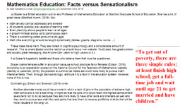 Math Facts verses Sensationalism